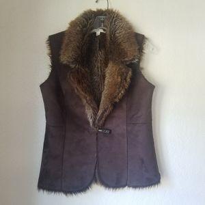 Fever faux fur vest with button closure